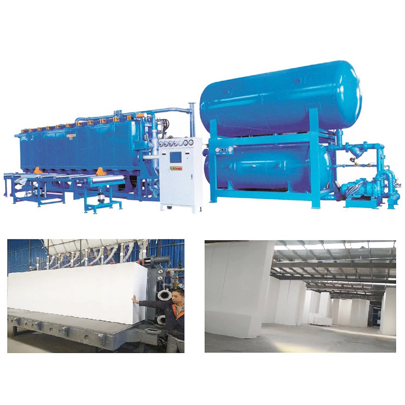 Block molding machine with vacuum